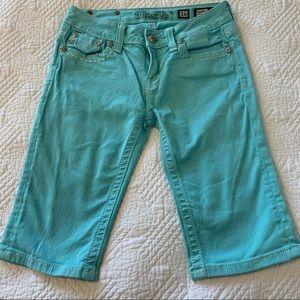 MISS ME girls 16 aqua Bermuda shorts with accents